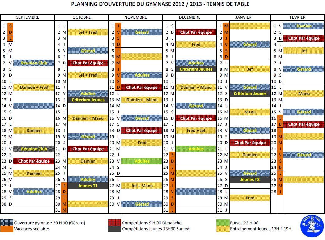 Planning Ouverture Gymnase 2012-2013